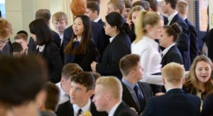 Boarders in lunch queue