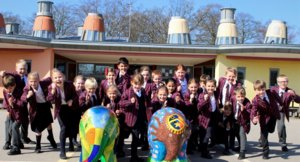 Prep Children with Painted Elmer Elephants