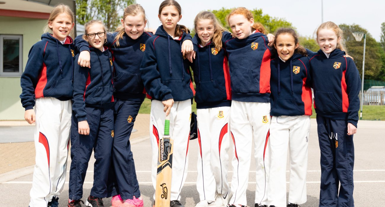 Girls in Cricket Gear